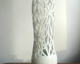Celadon porcelain trellis vase