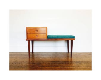 Mid Century Teak Telephone Bench with Drawers / Ganddal Mobelfabrikk / Norway