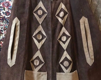1960s 1970s Chocolate Leather Suede Cape/ Poncho Boho Woodstock