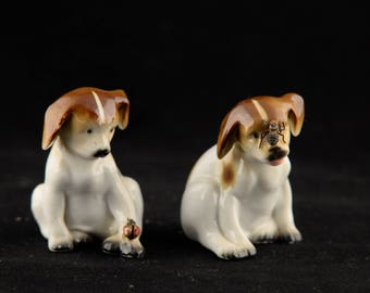 Playing Dog Figurine, Pair of Puppies, Cute Dog Figure, Porcelain Dog Figure, Ceramic Dog Figure, Puppy Figurine, Playing Puppies, Porcelain