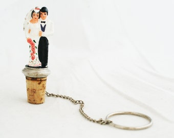 Wine stopper - Bridal couple wine topper gift something old