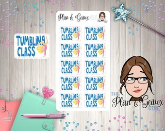 Tumbling Lessons, Tumbling Class Planner Stickers, Gymnastics Class, Bullet Journal, Bujo Stickers, Happy Planner, FUN-080