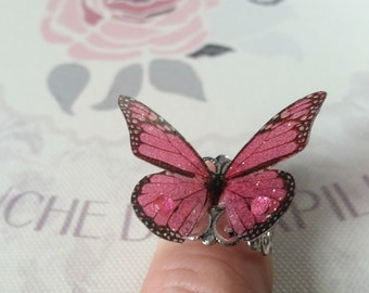 Pretty Pink 3D Butterfly Ring