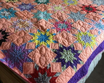 no. 5014 peach and purples star quilt