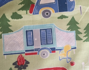 Fun large camper scene, green by Timeless Treasure