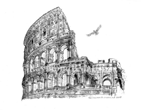 Colosseum Rome Italy Pen And Ink Pencil Drawing Illustration