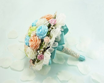 Marie Antoinette Wedding Bridal Bouquet in Pastel colors for Spring Alternative Weddings, Bespoke weddings, rusic weddings, french style