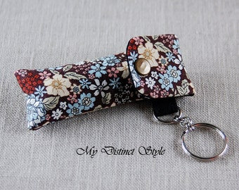 Fabric Lip Balm Holder with Keyring, Lip Balm Cozy, Chapstick Holder, Bridesmaid Gift