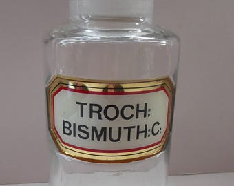 Large Antique Clear Glass Chemist Bottle. TROCH BISMUTH: C with Original Foil Label and Ball Stopper. 8 3/4 inches