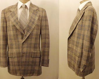Corbin Ltd Blue Windowpane Check Plaid Men's Suit Size 40