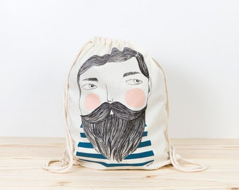 Bearded Backpack tote, sailor backpack, depeapa, hipster, screen printed canvas backpack, organic canvas backpack, illustration, gift