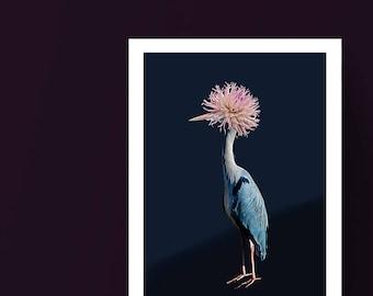 Blue Heron Print - Strange Bird, Abstract Surreal Bird Collage, Unique Flower Bird Wall Art,  Venus Art Prints, Giclee Print