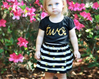 Black and Gold Girls Birthday Outfit, 2nd Birthday Shirt, Birthday Shirt and Skirt, Cake Smash, ANY AGE