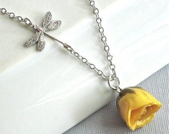 Yellow Real Rosebud Necklace - Natural Preserved, Dragonfly, Sterling Silver, Flower Jewelry