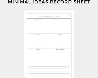 Inspiration Planner, Idea Planner, Minimal Planner, Creative Planner, Personal Planner, Printable Planner, Journal, Digital Planner, Ideas