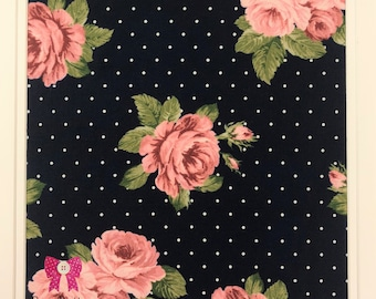 Double Brushed Poly Spandex KNIT Fabric, 4-way Stretch, Bow Button Fabrics - Alice Navy Polka Dot Floral