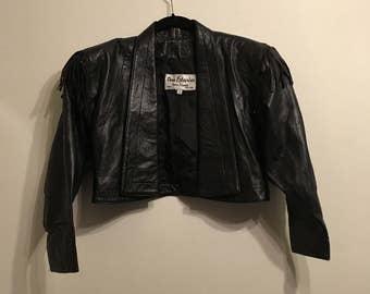 Dero Enterprises by Rocco Fringe Crop Leather Jacket
