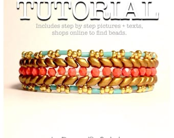 Superduo bead pattern beadweaving tutorial glass beads czech glass beads jewelry tutorial. Sunset.