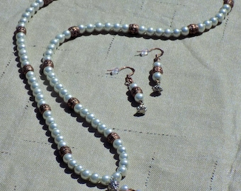 """Pearl and Copper """"Ball"""" Pendant Necklace and Earrings"""