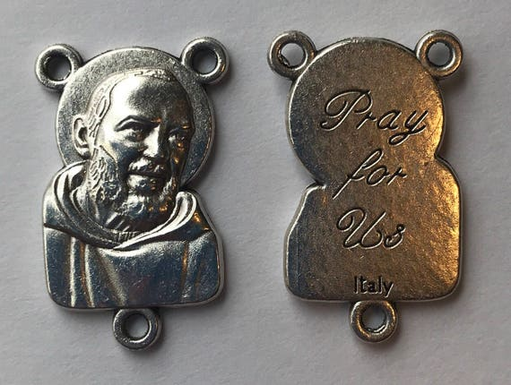 5 Rosary Center Findings, Padre Pio, Pray, Die Cast Silverplate, Silver Color, Oxidized Metal, Made in Italy, Charm, Religious