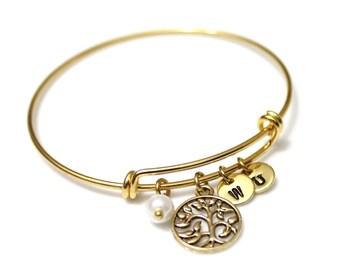 Gold of Life Bracelet, Family Tree Bracelet, Gold Bangle Bracelet, Tree of Life Bangle, Initial Bangle Bracelet, Pearl Bracelet