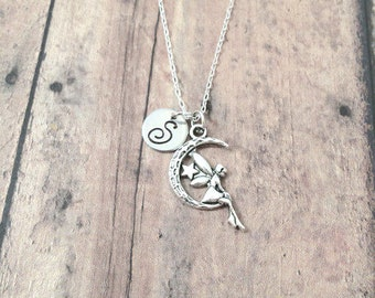 Moon fairy initial necklace - moon fairy jewelry, moon jewelry, faerie jewelry, fairy necklace, silver moon fairy pendant, moon necklace
