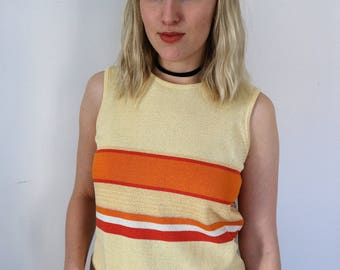 Striped Sleeveless Vintage Sweater Top