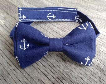 navy bow tie, nautical baby, nautical baby shower,  mens nautical gift, anchor bow tie, Nautical Tie, Boys Navy Bow Tie, Mens navy bow tie