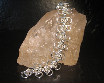 Silver Plated Copper Chain Maille Honey Bee Bracelet