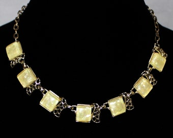 Pretty Vintage Yellow Confetti Thermoset Necklace