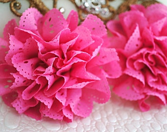 2 Hot Pink Eyelet Flower - Fabric Flower - Vintage Chiffon Flower - Lace rose - Wholesale flowers - Lace Flower - Eyelet Fabric Flower