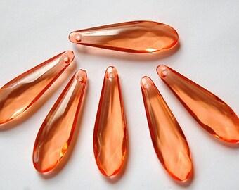 Vintage Acrylic Translucent Peach Orange Rounded Faceted Pendant Drops bds093H