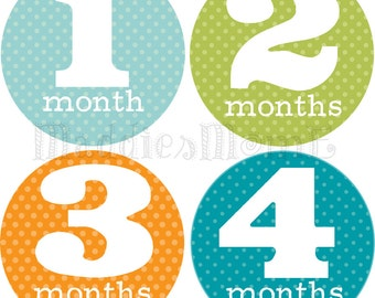 Monthly Baby Stickers Baby Boy Month Stickers Milestone Stickers Monthly Photo Stickers Bodysuit Stickers Blue Green Orange (Jax)