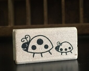 LADY BUGS Rubber Stamp LADYBUG Small Wood Block Stamping Scrapbooking Craft Cards Crafts card spring summer bug animal animals cute bug