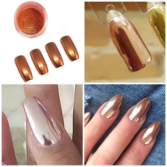 Rose Gold Chrome Powder for Gel Nails - 2g Box - for Nail Art ...