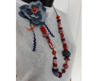Blue flower long necklace