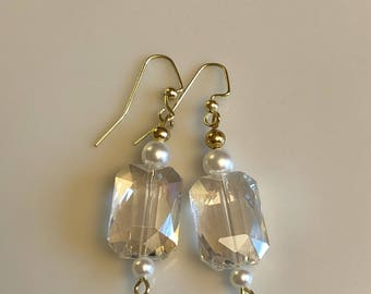 Clear crystal chandelier earrings with gold and pearl bead accents
