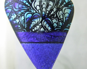 Blue Velvet Dichroic Heart Pendant, Fused Glass Jewelry Handmade in North Carolina