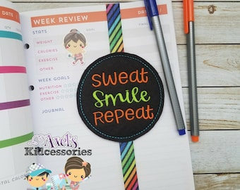 Sweat Smile Repeat Elastic Bookmark - Fitness Bookmark - Fitness Journal Bookmark - Fitness Planner Band - Fitness Planner