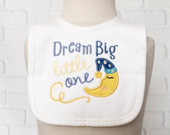 Moon And Stars Nursery - I Love You To The Moon & Back - Dream Big Little One - Baby Shower Boy Gift - Bib Set - Baby Bibs - Embroidered Bib