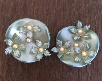 1930's-1940's Teal flowered clip on Earrings