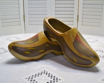 Vintage Wooden Shoes Painted Clogs Large Size Worn Earthy Colors Rustic Home Decor PanchosPorch