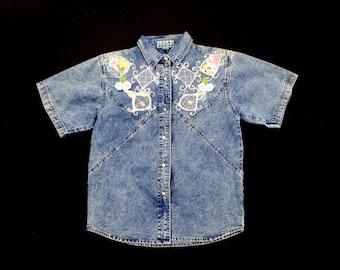 Vintage Denim Floral Blouse