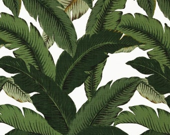 Indoor / Outdoor Weather Resistant Fabric By The Yard - Tommy Bahama Swaying Palms Aloe - Green, Ivory Tropical Palm Leaf
