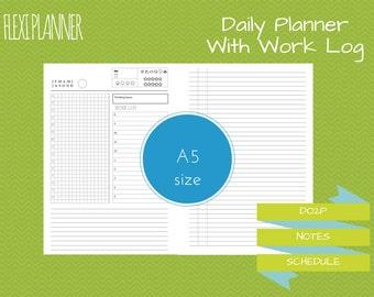 Flexi planner | A5 size filofax inserts | Daily planner with work log | DO2P | undated | instant download