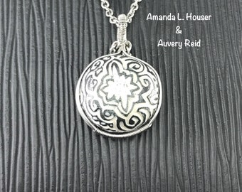 Starry Starry Night - Collectors Piece - Wire Wrapped Sgraffito Ceramic Art Pendant