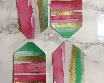 Handmade Painted Gift Tags x4