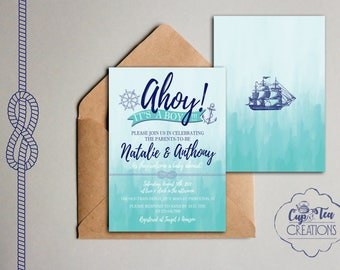 Ahoy It's a Boy Invitation, Nautical Baby Shower Invitation, Ahoy Baby Shower Invitation, Nautical Invitation, Ahoy It's a Boy Baby Shower