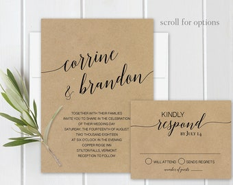 Wedding Invitation, Wedding Invite, Modern Calligraphy Wedding Invitations, Kraft Wedding Invitations, Wedding Invitation Suite Template