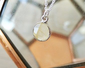 Sterling Silver, Rutilated Quartz, Necklace, Faceted Gemstone, Gold Rutilated Quartz, Modern Jewelry, Minimalist Necklace, Simple Gemstone